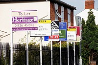 Multiple To Let and For Sale Signs outside Private Flats, Warwick, England