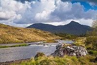 Scenic view of the Owenmore River in Connemara, County Galway, Ireland, Europe