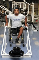 UA student, Chris Bryant, who is an Army veteran who served in Iraq from 2005-2006, works out at the campus Disability Resource Center  Bryant is on t...