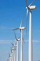 group of modern windmills with blue sky in Pozuelo de Aragon, Saragossa, Aragon, Spain