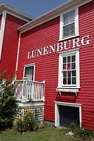 Deatail of facade of historic waterfront building, Lunenburg, Nova Scotia, Canada, North America