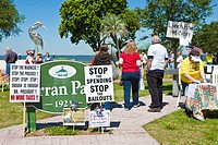 Eustis, FL - Apr 2009 - Signs protest taxes and government spending at the entrance to a Tea Party political event at Farran Park in Eustis, Florida