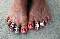An Indian woman's feet - closeup