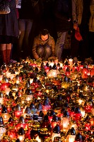 Warsaw Poland: Candles lit at the Presidential Palace in memory of president Lech Kaczynski who died in a plane crash