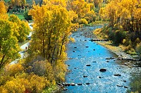 Yampa river core trail meandering beside the Yampa river in fall, Steamboat Springs, Colorado, USA