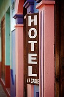 A sign for a hotel in San Cristobal de Las Casas in Chiapas in Mexico