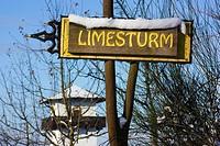 Hillscheid, Rheinland_Pfalz, Germany, A Signpost Saying ´limesturm´