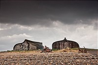 Lindisfarne, Northumberland, England, Two Old Wooden Buildings