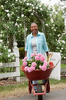 Black woman pushing wheelbarrow of flowers