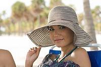 Woman wearing sunhat