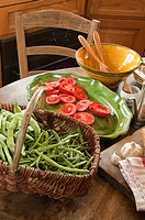 Vegetables in french country kitchen