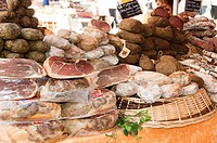 Charcuterie market stall in france