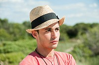Teenage boy wearing hat, portrait