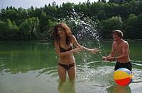 Loving couple at a lake