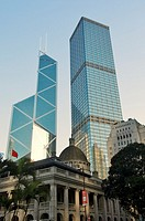 Hong Kong Island, China  Contrasting architecture styles  Bank of China  Court House, Cheung Kong Centre, Old Bank of China