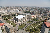Aerial photograph of the modern city of Bucharest in Romania