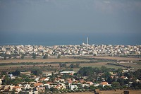 Panoramic view of the arab village of Gisr a Zarka on the Coastal plain