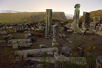 Night view of the ruins of the Arbel synagogue in the Galilee