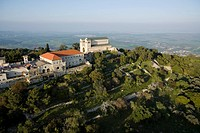 Aerial photograph of the Transfiguration church on the summit of mount Tavor in the Lower Galilee