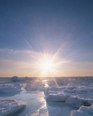 Drift Ice and the Morning Sun Over the Ocean. Hokkaido, Japan