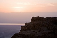 Aerial photograph of the sunrise over Masada in the Judean desert