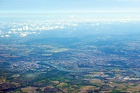 View of city and landscape from plane
