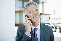 Businessman on cell phone (thumbnail)