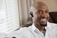 Man wearing wireless headset