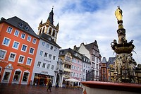 Central square and fountain in Trier. Mosel Valley. Germany