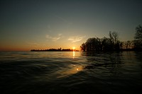 Sunrise over Fraueninsel island, Lake Chiemsee, Chiemgau, Bavaria, Germany