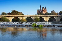View over Lahn river with bridge to cathedral, Limburg, Hesse, Germany