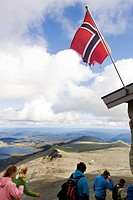 Tourists on the Gaustatoppen mountain, Telemark, South of Norway, Skandinavia, Europe
