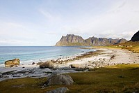Lonesome sandy beach under clouded sky, Lofoten, Norway, Scandinavia, Europe