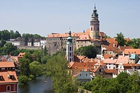 Panoramic view with the Vltava river, the castle and the church of St. Jost, Cesky Krumlov, South Bohemian Region, Czech Republic