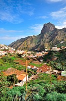 Houses at the valley of Vallehermoso, northcoast of Gomera, Canary Isles, Spain, Europe