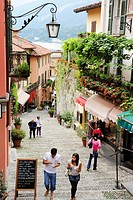 Shopping street, Bellagio, Lake Como, Lombardy, Italy