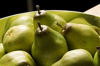 plastic pears in a bowl