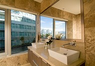 bathroom in apartment at Millennium, the Athletes Village during the Olympic Winter Games, Vancouver, BC, Canada