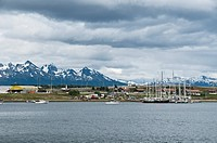 View of Ushuaia with marina, Tierra del Fuego, Argentina