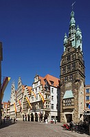 D-Muenster, Westphalia, Muensterland, North Rhine-Westphalia, Prinzipal Market Place, gable houses, archways, Stadthouse Tower