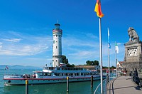 Pleasure boat, Lake Constance, Lindau, Bavaria, Germany, Europe
