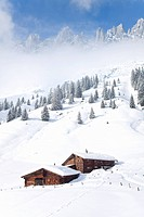 Alp huts at the Hochkoenig in snow, Austria