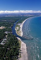Aerial view of the worlds longest freshwater beach at Wasaga Beach, Lake Huron, Ontario, Canada.
