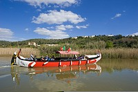 Historical fishing boats as tourist boats on Rio Arade in Silves city, Algarve, Portugal, Europe