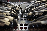 Close_up of cables connected to server