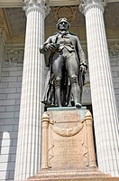 Statue of Thomas Jefferson in front of State Capitol Jefferson City Missouri