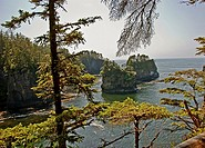 This ocean scenic is of beautiful Cape Flattery, Washington, the Northern Western most point of the United States Rocky crags, small islands, evergree...
