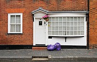 Purple refuse sacks on Fishpool Street, St Albans, UK