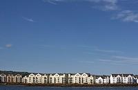 seafront apartment blocks on the belfast lough shoreline at carrickfergus county antrim northern ireland uk