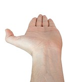 Man hand isolated on white background. Close up.